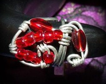 One of a Kind Silver  Wire Ring with Red Beads Size 6 1/2