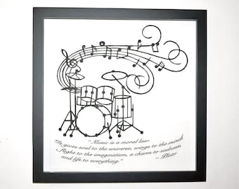 DRUMS Music Notes & Plato's Quote Black Silhouette Paper Cut Handmade, GRADUATION Gift, ORIGINAL Wall and Home Décor Framed One Of A Kind