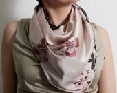 Cream scarf, Floral scarf, Satin scarf, Beige scarf, Bohemian scarf, Urban scarf, Wrap scarf, Fashion scarf, Women's scarves,