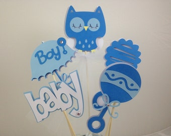 Baby Shower Table Decoration Centerpiece Owl Soft Blues