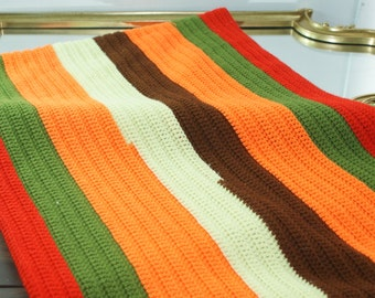 Handmade Neon Stripe Afghan. Colored Stripes. Blanket Made of Soft Yarn. Cozy and Bright. Fireplace Blanket.