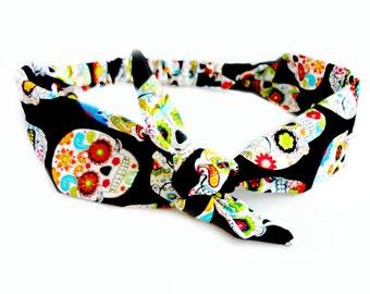 Sugar Skulls Day of the Dead Head Scarf, Bandana Skull Skeleton Tie Headband Bandana