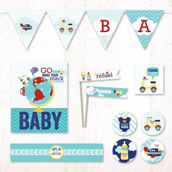 Cars & Airplanes Baby Shower - Instant Download PRINTABLE Party Kit