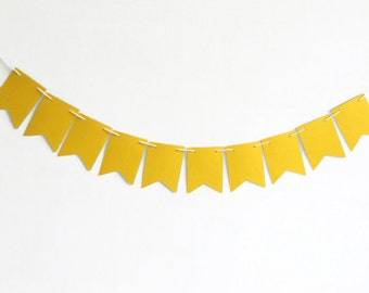 Bright Yellow Streamer, Sunshine Yellow Decoration, Dorm Room Decor, Birthday Party Supply, Nursery Wall Garland, Paper Pennant Flags
