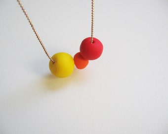Bright red and yellow necklace Beads necklace Fall sunset colors