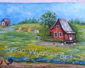 Original Art on Wood Acrylics Country Scene 11 x 24