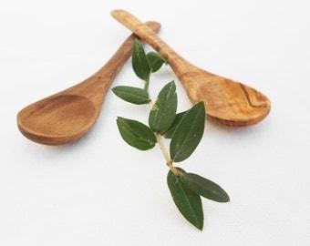Olive Wood small coffee sugar spoon set, Set of 2 sugar salt coffee spoons 12cm / 4.8 inches