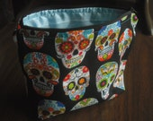 Black Sugar Skull Makeup Bag