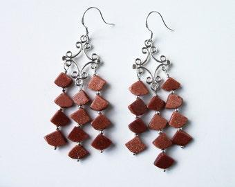 Red Goldstone chandalier earrings (#472)