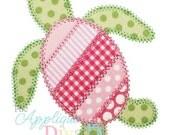 Summer Shabby Patchwork Sea Turtle Digital Embroidery Design Machine Applique
