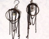 Tribal Gypsy Earrings. Shabby Chic Jewelry. long chain dangle earring. Belly Dance. Oxidized Copper