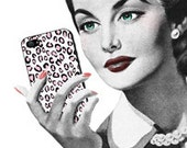 Retro Woman Checks Smartphone iphone Android Galaxy Note Talk Phone - Vintage Art Illustration - Digital Image - Instant Download
