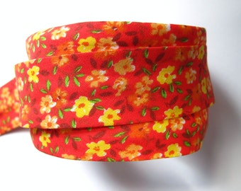 Floral bias binding, red bias binding, yellow floral bias binding, bias tape, hem binding, haberdashery, UK sewing supplies, yellow flowers