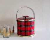 Vintage 60s Mid Century Mod Red Plaid George Briard Signed Vinyl Ice Bucket