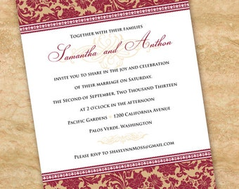 wedding invitations, cranberry wedding invitations, rust and ivory bridal shower invitations, tan and cranberry party invitation, IN281