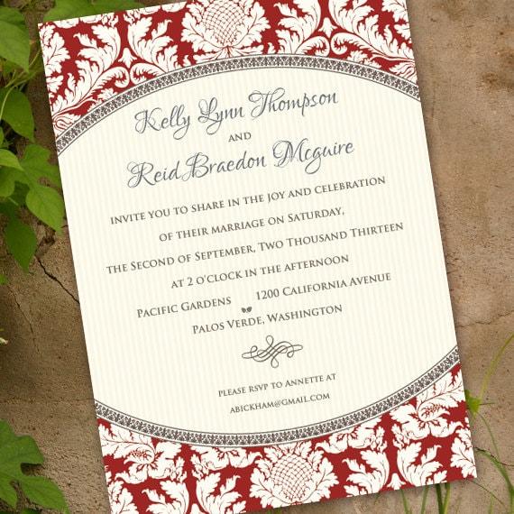 wedding invitations, wedding invitation wording, cranberry damask invitation, ivory and cranberry invitation, red wedding invitation, IN341