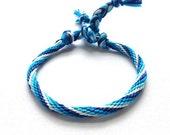 Boho Friendship Bracelet in Blues Ombre Spiral Stripe- hand knotted cotton Stackable bracelet
