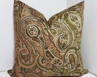 Green Tan Paisley Print Pillow Cover Decorative Throw Pillow Cover All Sizes