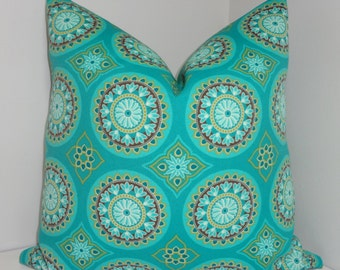 OVERSTOCK OUTDOOR Turquoise Green Medallion Pillow Covers Outdoor Deck Patio Pillow 18x18
