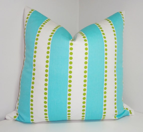 Turquoise Blue & White Stripe Lime Dot Pillow Cover Decorative Throw Pillow Choose Size