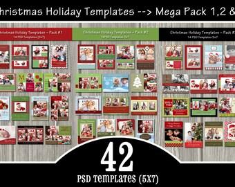 42 Holiday Card Templates MEGA Pack - PSD Christmas Templates, Holiday Templates - Commercial use Templates - over 30% savings