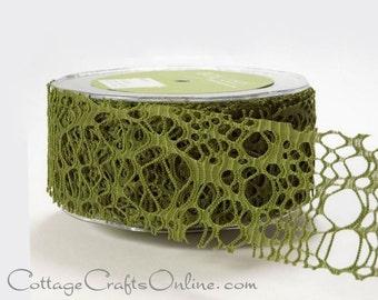 "Ribbon Green Web 2"" wide Halloween Spider Web - TWENTY YARD ROLL - May Arts ""Webbed Weave"" Lace Net / Embellishment / Decor / Craft Ribbon"