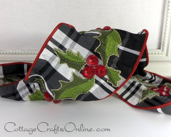 Red Jeweled Holly Christmas Wired Ribbon 4 Quot Wide On Black