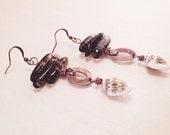 Smoky rutilated quartz and shell earrings - copper shell earrings - beach jewelry