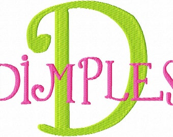 "JUMBO Dimples Machine Embroidery Font - Sizes 5"",6"",7"" and 5x7 Hoop Choice - BUY 2 get 1 FREE"