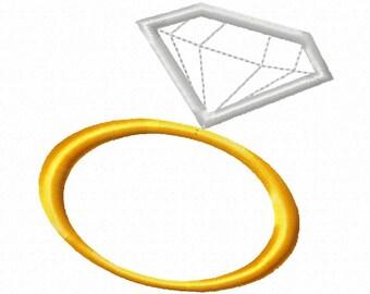 Diamond Ring - Applique - Machine Embroidery Design - 10 Sizes