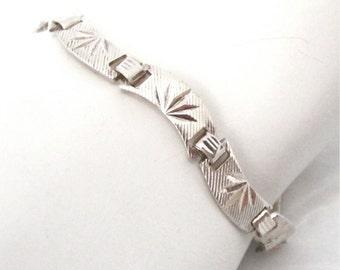 signed Sterling Silver Bracelet, starburst pattern, sunburst, textured, 1970's, silver link bracelet, 925, Gift Idea, Excellent