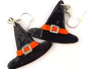 Polymer clay: witch hat earrings - CharminglyTiny