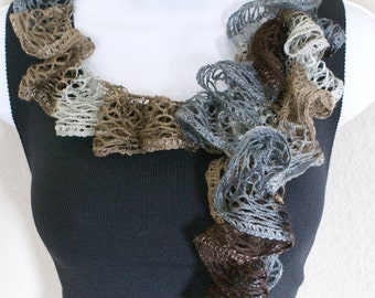 Ruffle scarf handmade crochet lace and soft MULTI-COLOR shiny scarf for spring and summer
