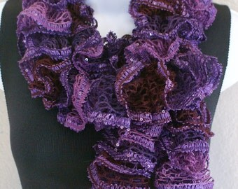 Ruffle lace soft scarf hand knit PURPLE  shiny + 60 inches long