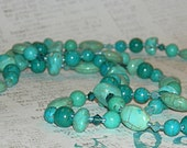 Womens Turquoise Color Magnesite Blue Green Gemstone Necklace Sterling N2502 Ready to Ship Jewelry