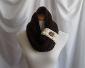 Cowl Button Neckwarmer Chunky Bulky Crochet Neckwarmer Cowl:  Brown with Off White Trim and Coconut Button