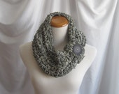 Scarf Cowl in Fabric Crochet in Black and Off White with Black Button