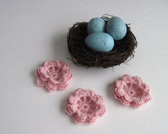 3 Thread Crochet Flowers - Pale Pink Irish Rose - Set of 3