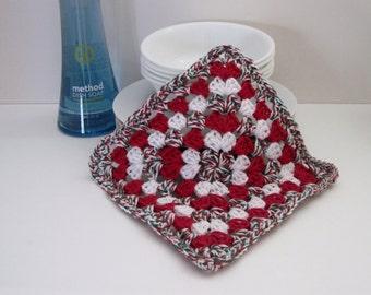 Crochet Dish Cloth Cotton Granny Square - White, Red and Green Dishcloth