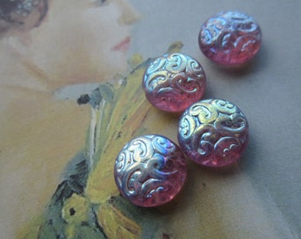 Amethyst AB Czech Brocade Beads 4Pcs.