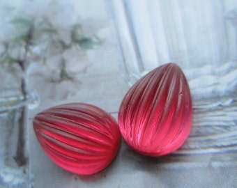 Rose Ribbed Matte Glass Cabs 18x13mm Pear Shaped 2Pcs.