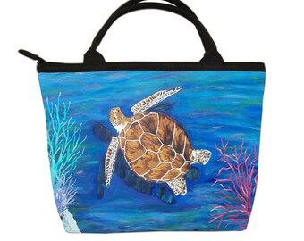 Loggerhead Sea Turtle Small Handbag, Sea Turtle Purse - Help Support Wildlife Conservation, Read How - Salvador Kitti