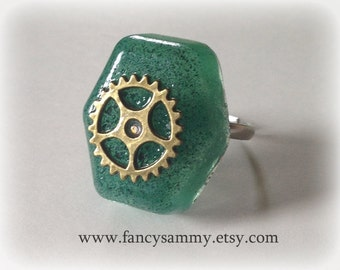 Green Steampunk Ring - Adjustable [CLEARANCE]