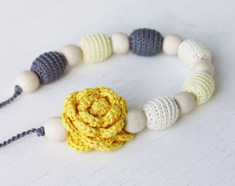 Nursing necklace Yellow grey jewelry with flower Floral necklace Baby shower gift For new mom Breastfeeding accessory Summer fashion