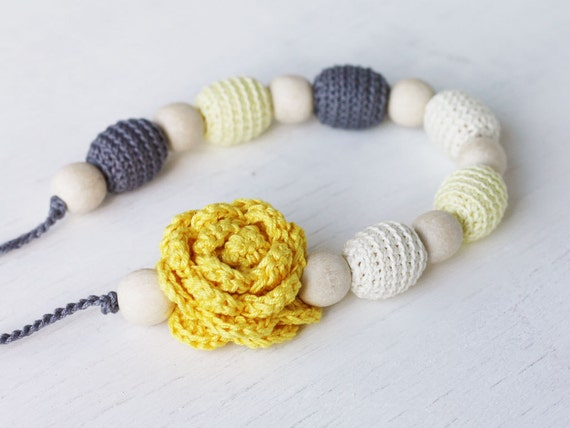 Nursing necklace Yellow grey jewelry with flower Floral necklace Baby shower gift For new mom Breastfeeding accessory