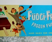 1958 Original Ice Cream Parlor Sign for Fudgi Frost Frozen Fudge Bars