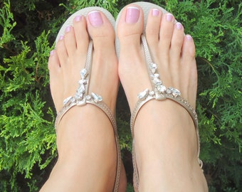 Sand Havaianas crystals flip flops. Bridal flp flops- decorated with CZ crystals.Bridesmaids gifts.URBAN mdw-0009