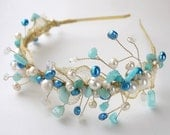 blue wedding tiara OOAK -  freshwater pearl jade opal gold side headband, beach seaside inspired