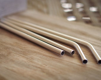 Set of 4 Stainless Steel Smoothie Straws