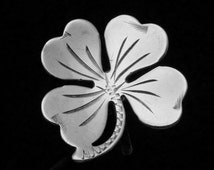 Vintage 1940s Sterling Silver 4 Leaf Clover Good Luck Lucky Earrings 19411